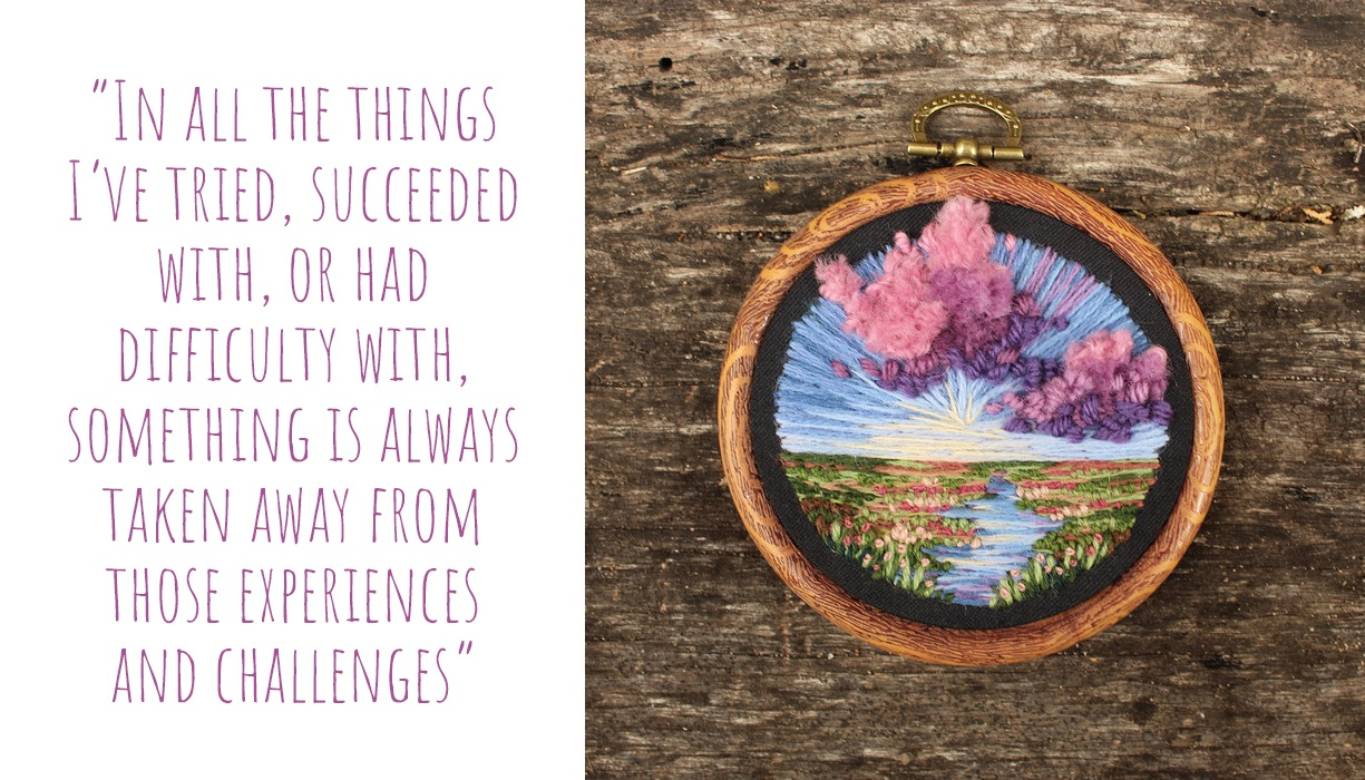 Sunset wetland landscape embroidered hoop art by PatchHaven; 'In all the things I've tried, succeeded with, or had difficulty with, something is always taken away from those experiences and challenges'