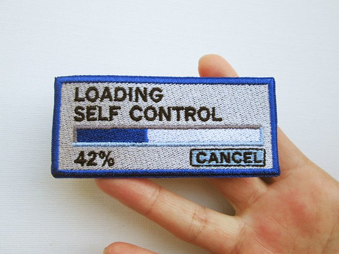 Humorous  'Loading self control' embroidered patch by PatchHaven