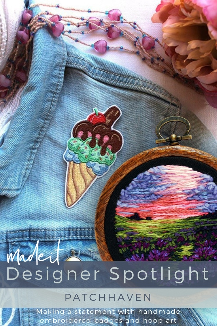 Jan creates small-scale machine embroidered patches and  hand-embroidered hoop art from original designs