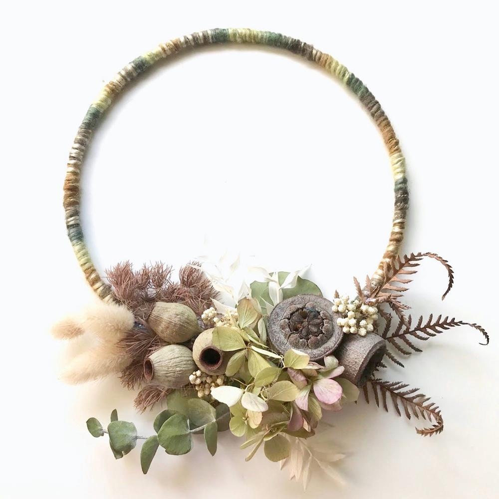 'Native Garden' Boho yarn-wrapped hoop wall hanging with native floral arrangement by Pikaloo