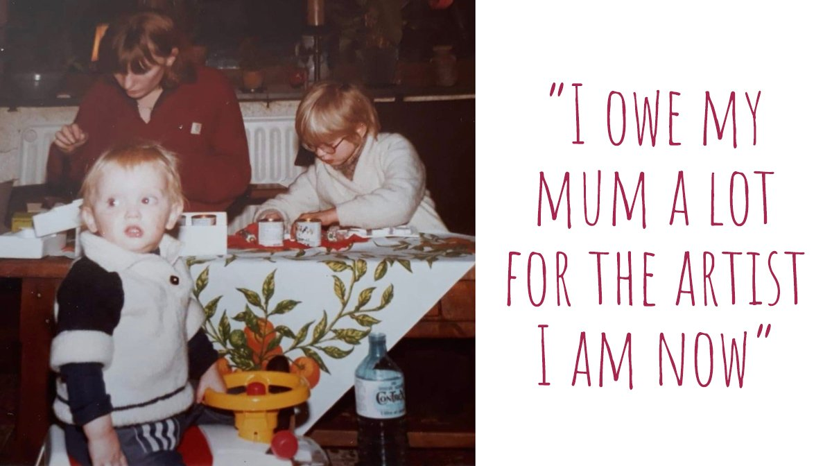 An early photo of Cristelle working on craft projects with her mum and brother as a child; 'I owe my mum a lot for the artist I am now'