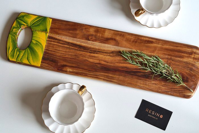 Tropical design resin acacia wood serving board by Resin8 Australia