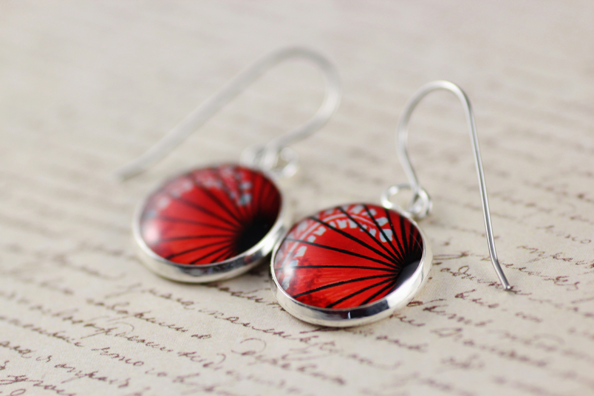 Resinate Designs red resin dangle earrings
