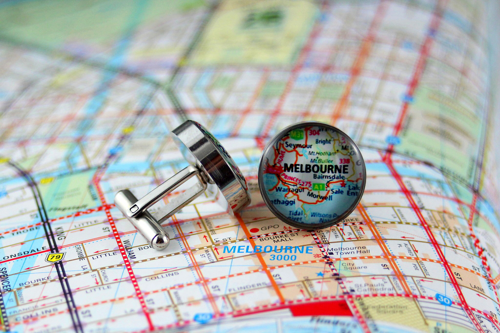 The finished product: map of Melbourne cufflinks