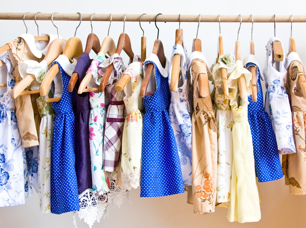 The first 16 upcycled little girls' dresses ready for the opening of Redress back in January