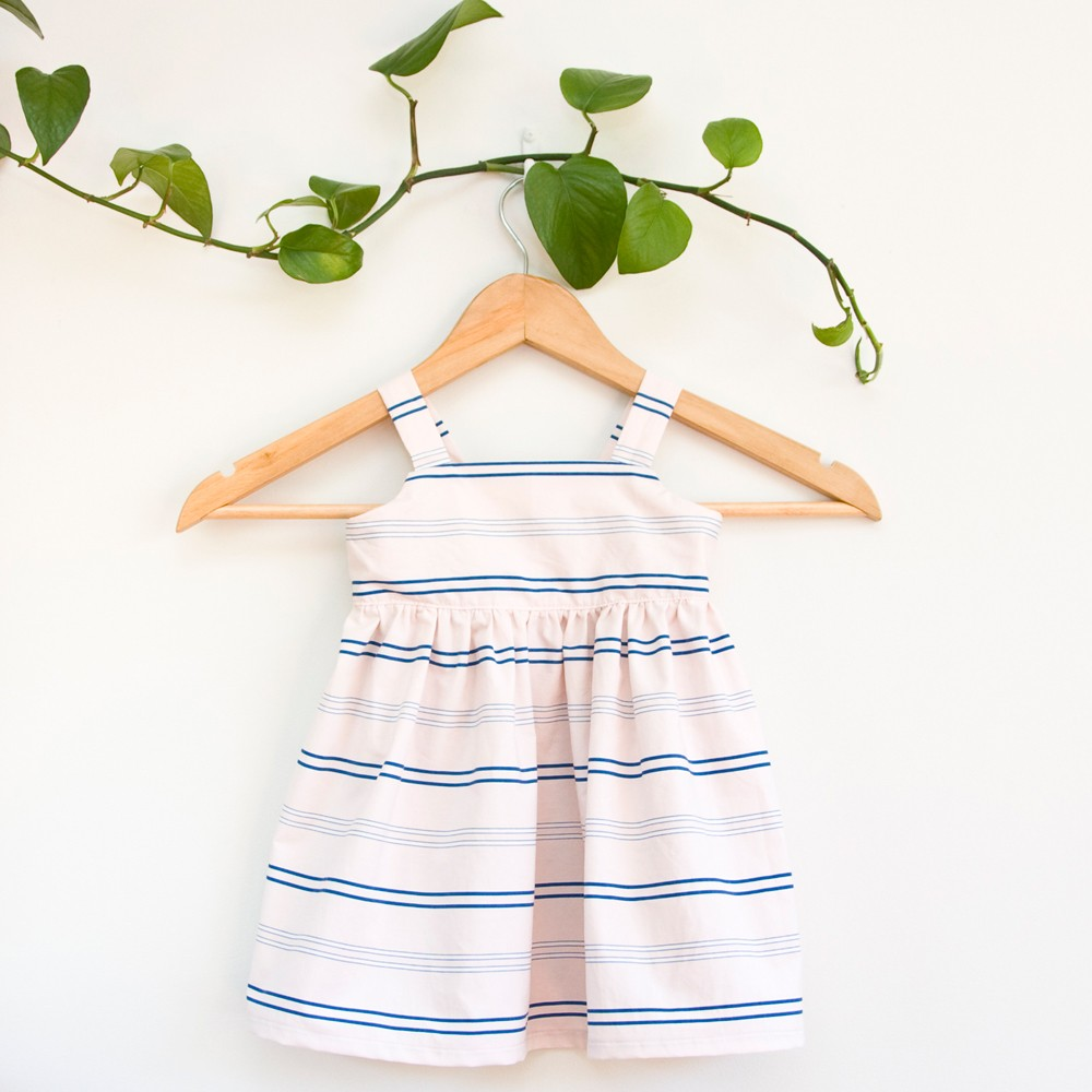Recycled fabric pink striped toddler summer dress by Redress
