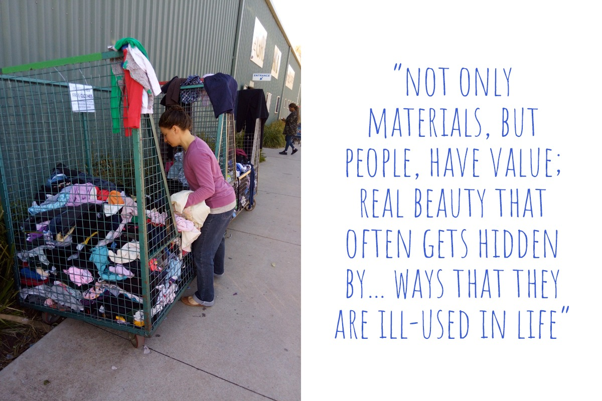 Salvaging materials from discarded clothing cages; 'not only materials, but people, have value; real beauty that often gets hidden by… ways that they are ill-used in life'