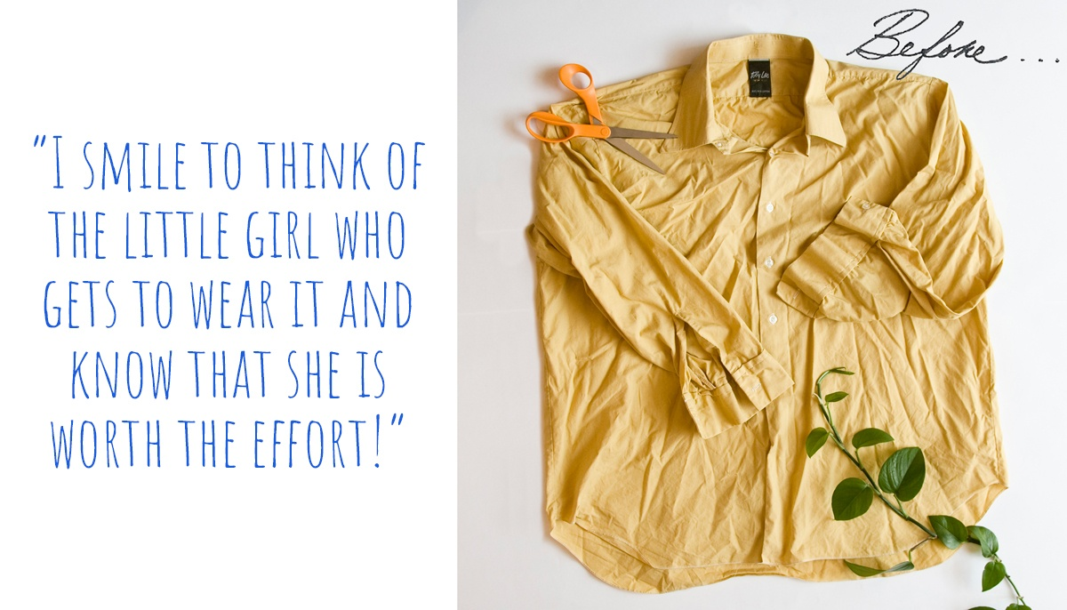 Discarded mustard yellow mens shirt ready to be turned into a toddler summer dress; 'I smile to think of the little girl who gets to wear it and know that she is worth the effort!'