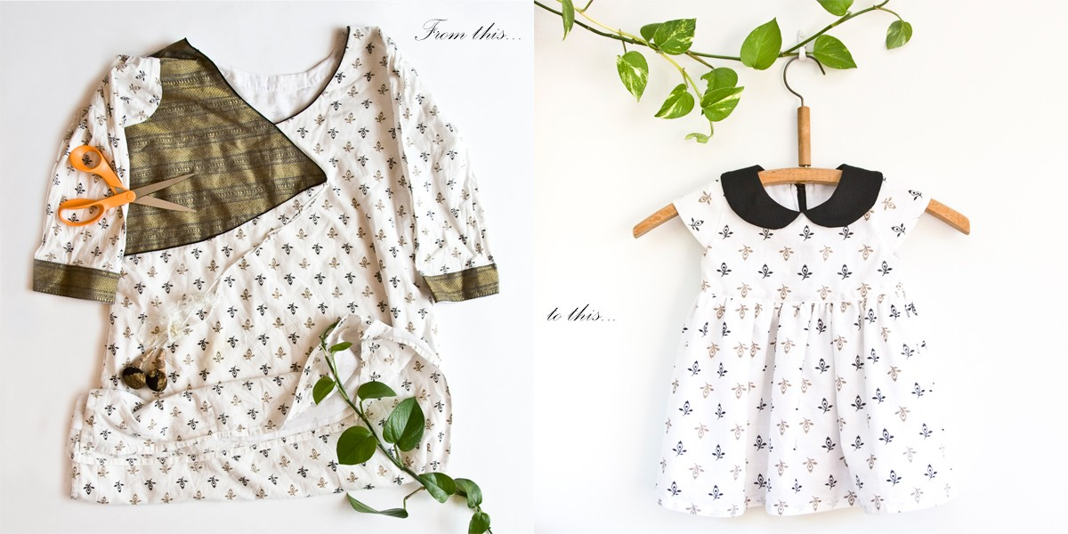 Before and after – an earth-friendly custom-made peplum dress with peter pan collar handcrafted from salvaged fabric