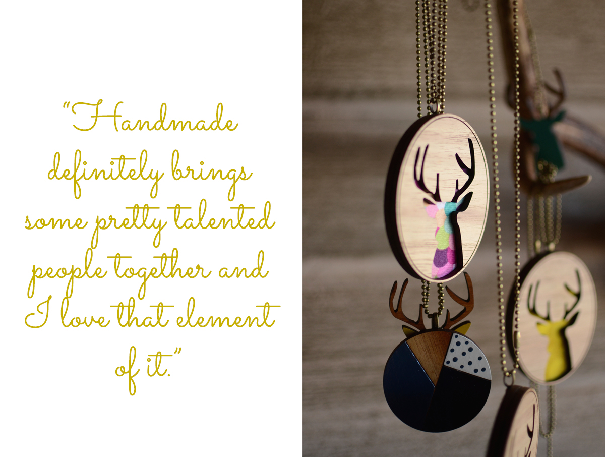 "Wooden pendant necklaces in geometric and colourful deer designs: ""Handmade definitely brings some pretty tlented people together and I love that element of it."""