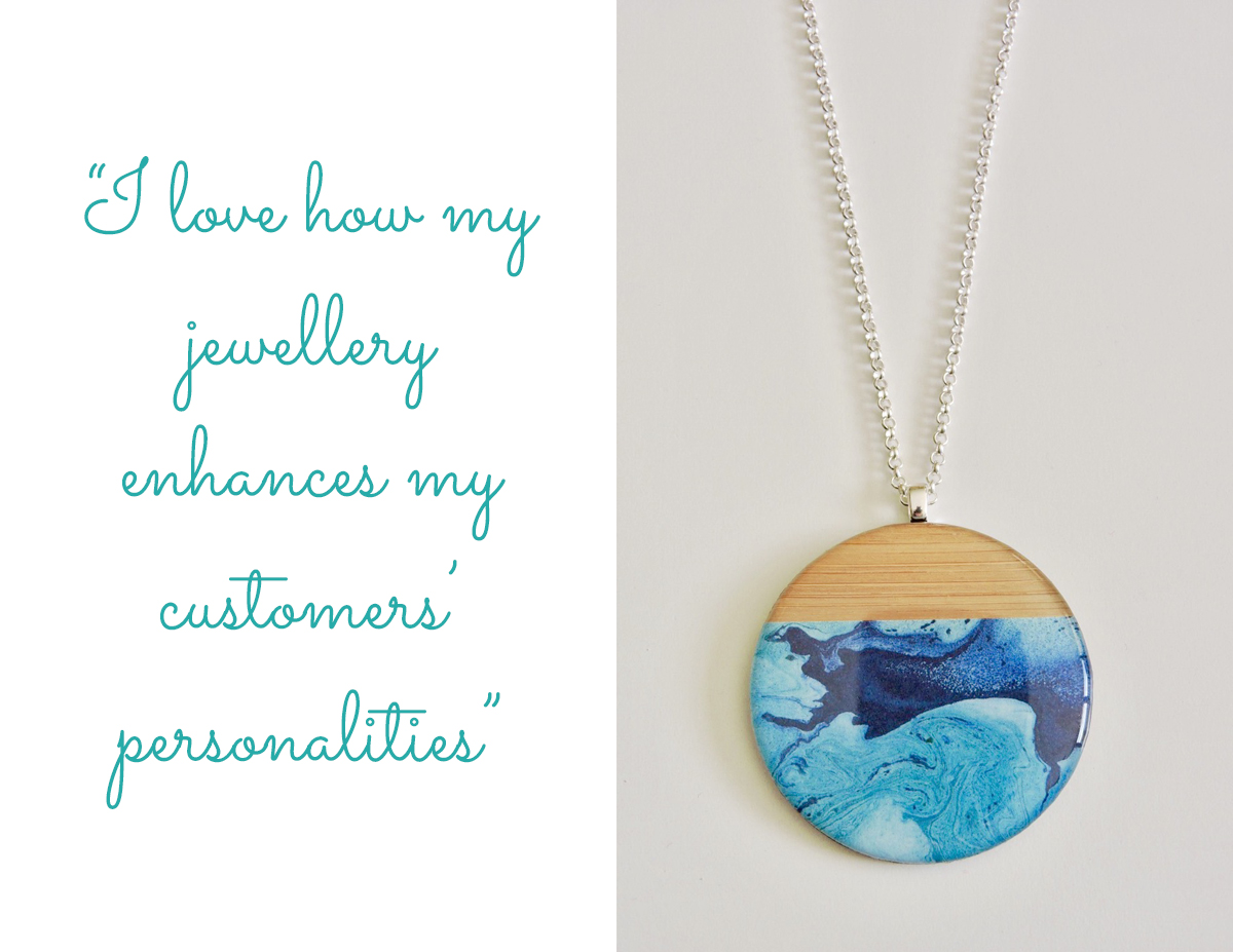 Rhyley Design wood and resin pendant: 'I love how my jewellery enhances my customers personalities