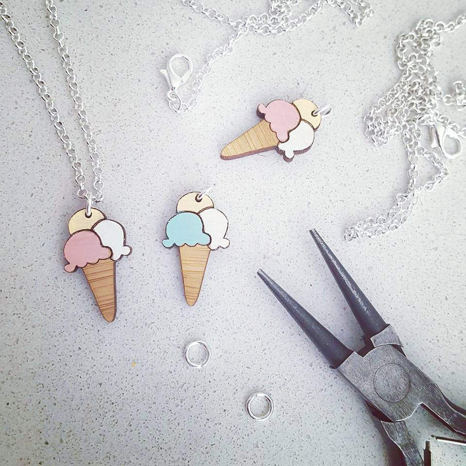 Wooden icecream charm necklace in progress