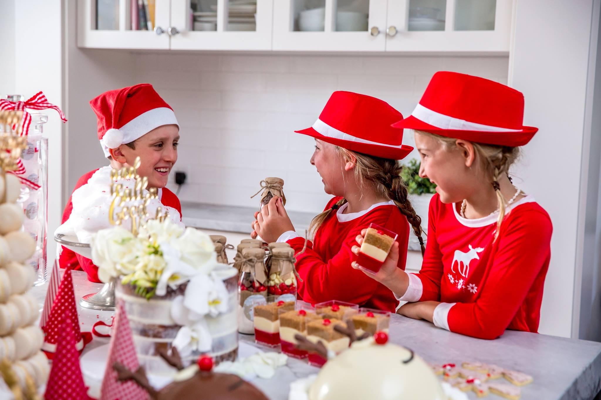 Children having fun with Sweet Health's 'Rudolph' Christmas cookie mixes
