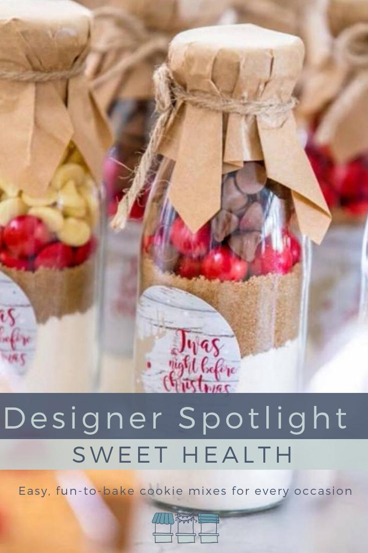 Kelly from Sweet Health creates easy, fun-to-bake cookie mixes packaged in adorable vintage milk bottles as unique gifts and bespoke favours for every occasion