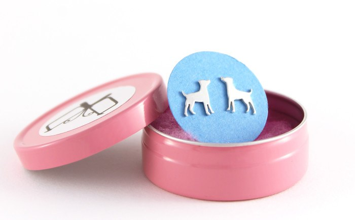 Silver Dog Stud Earrings in a pink tin.