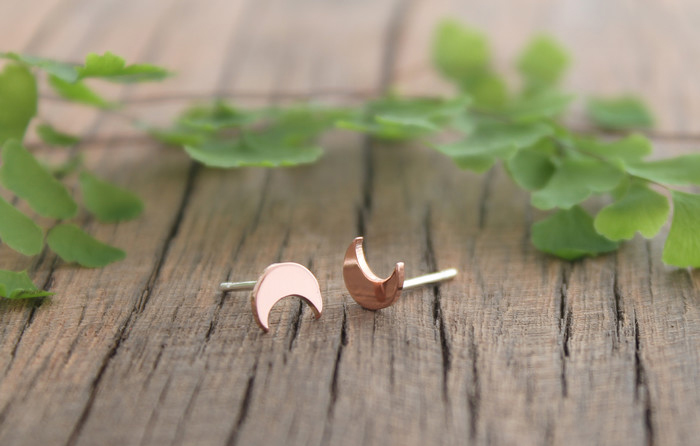Copper Crescent Moon Studs