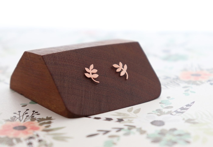 Sweet November Jewelry: Copper leaf stud earrings mounted on a wooden block