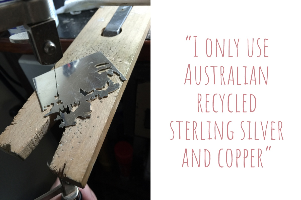 "Elizabeth hand-cutting her designs from sheet silver: ""I only use Australian recycled sterling silver and copper."""
