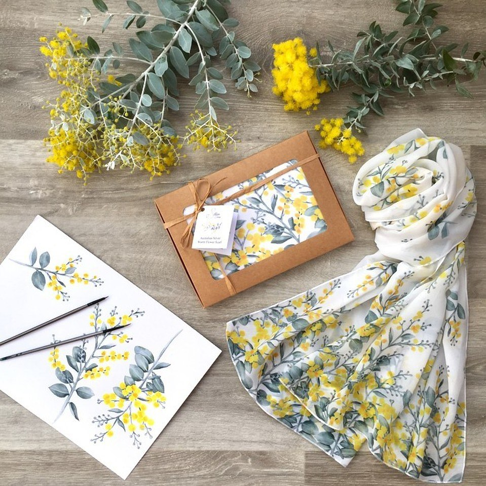 From watercolour painting to finished and packaged scarf: a handmade wattle scarf from Silken Twine