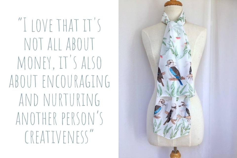 A Silken Twine scarf featuring watercolour blue winged-kookaburras: 'I love that it's not all about money, it's also about encouraging and nurturing another person's creativeness'