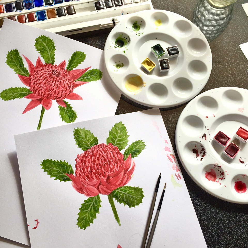 Waratah flower watercolour painting in progress by Silken Twine