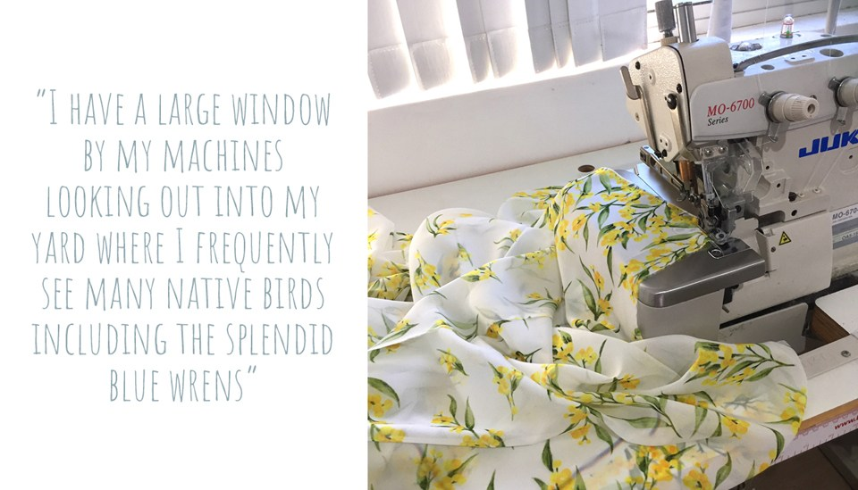 Watercolour wattle print fabric by Silken Twine on the sewing machine to be turned into a scarf: 'I have a large window by my machines looking out into my yard where I frequently see many native birds including the Splendid Blue Wrens'