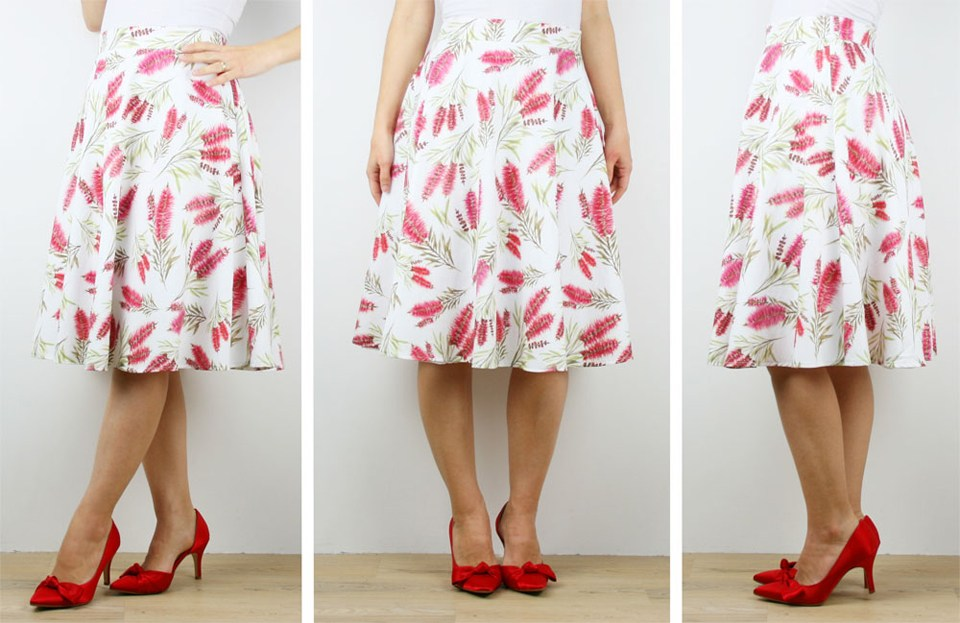 Silken Twine ladies' skirt in Australian Bottlebrush watercolour design based on Shelley's original paintings'