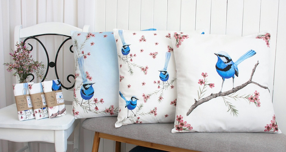 Silken Twine cushion covers in three Splendid Blue Wren designs based on Shelley's original paintings'