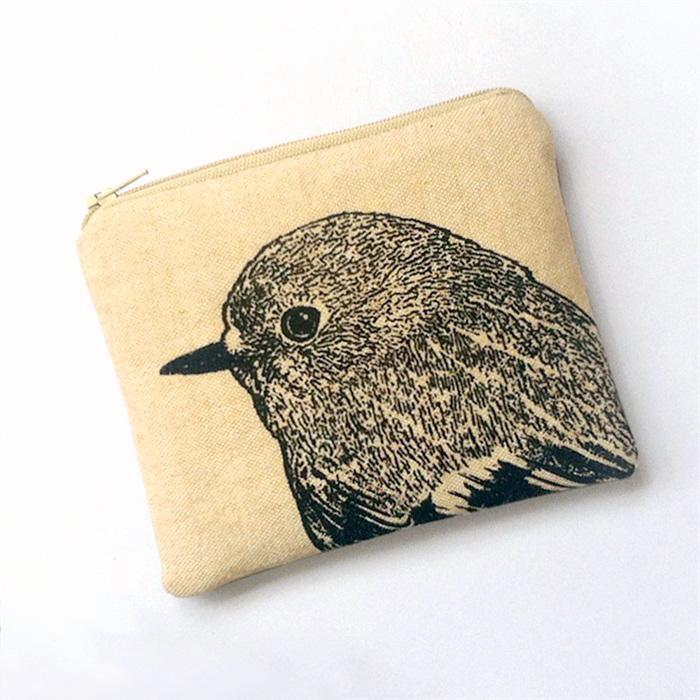 Screen printed robin purse, cream variation