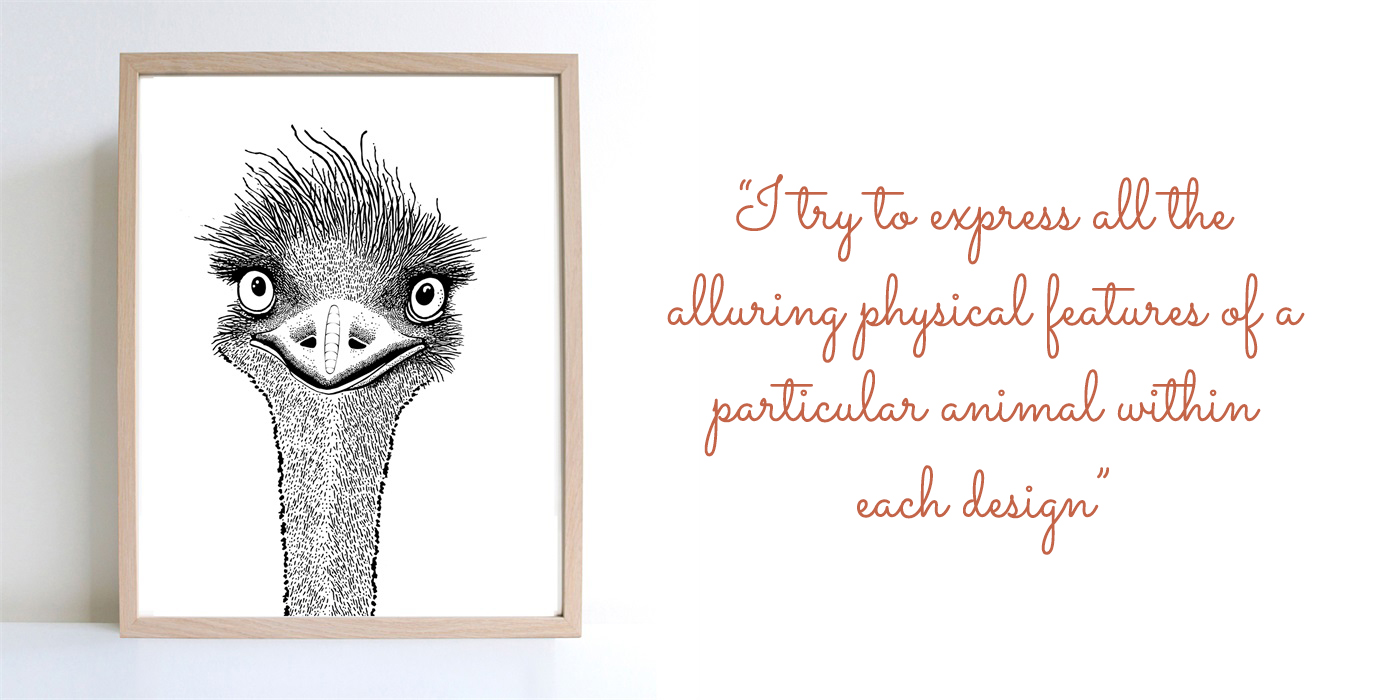 'Emu' black and white digital print: 'I try to express all the alluring physical features of a particular animal within each design – spines, whiskers, fur, ears, etc.'