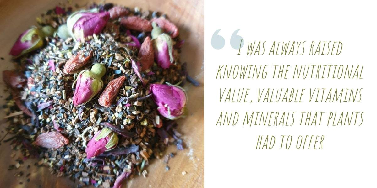 Close up of Alyssa's Yogi Blend herbal tea with goji berries and rose buds; 'I was always raised knowing the nutritional value, valuable vitamins and minerals that plants had to offer'