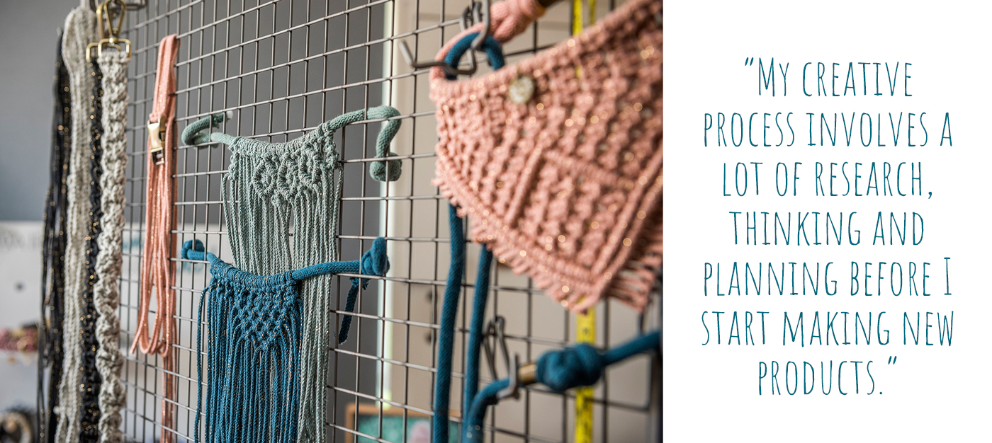 Macrame pet accessories in progress; 'My creative process involves a lot of research, thinking and planning before I start making new products'