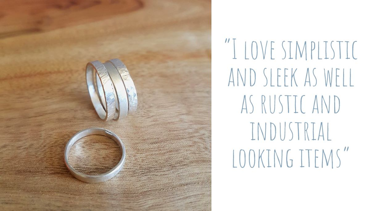 Stack of hand forged sterling silver rings of different textures: 'I love simplistic and sleek as well as rustic and industrial looking items'