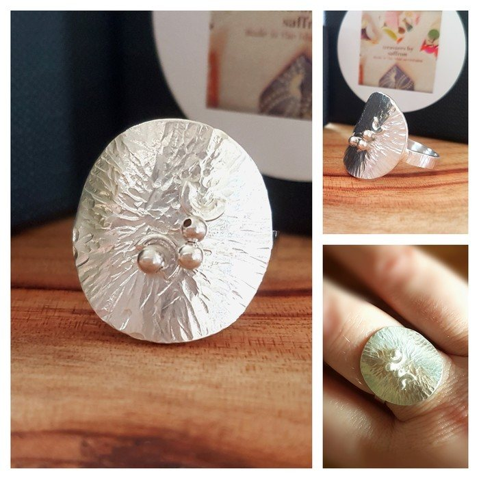 Heavily textured silver shield ring, handcrafted by artisan silversmith, Treasures by Saffron