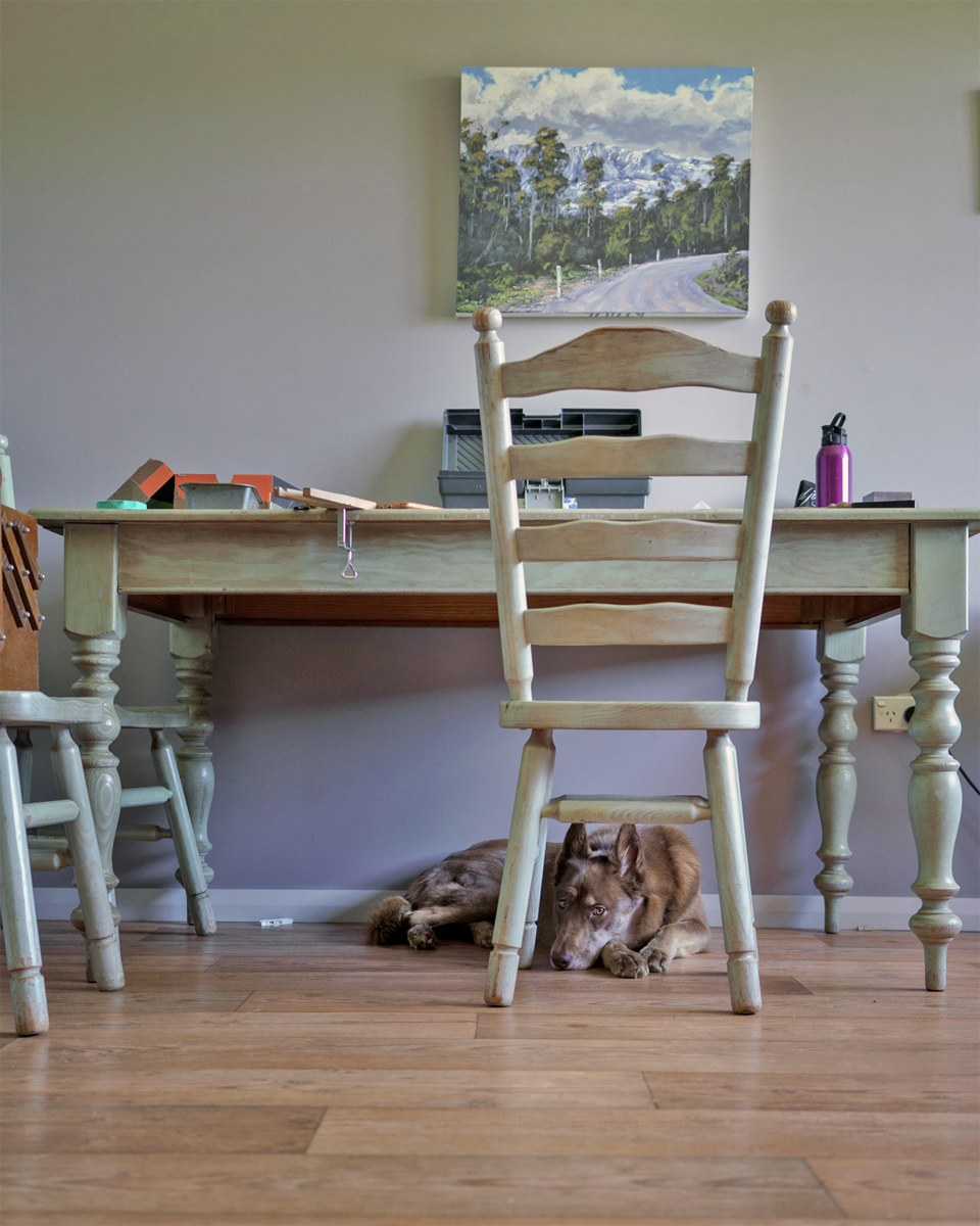 One of Saffron's home workspaces at an old kitchen table where she designs, cuts, forms and sands her jewellery under close canine supervision