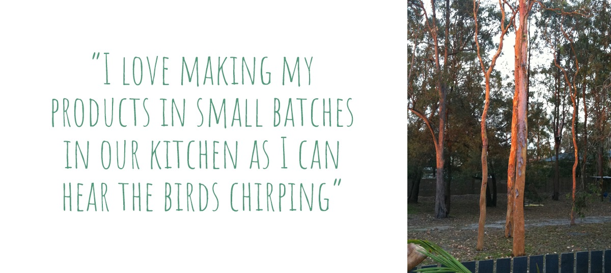 "The view from her workspace: ""I love making my products in in small batches in our kitchen as I can hear the birds chirping"""