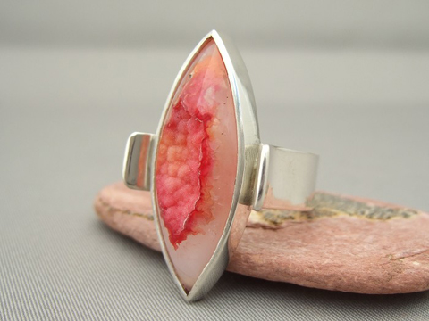 Orange Red Marquis Drusy Agate and Sterling Silver Cocktail Statement Ring