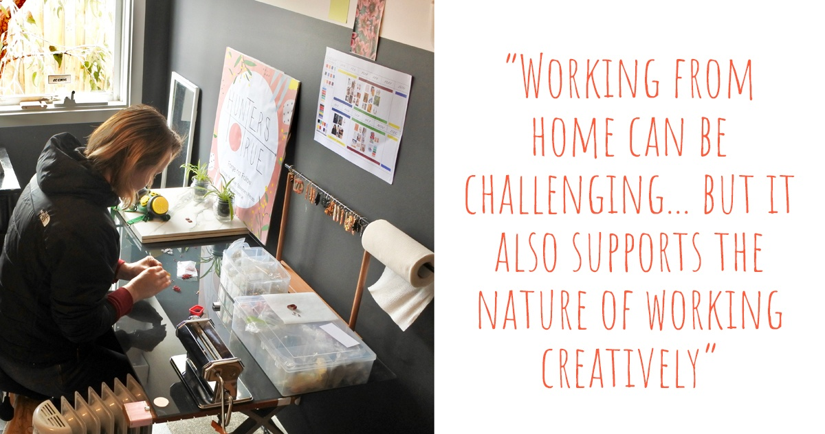 Jess at work putting jewellery components together in her home studio: 'Working from home can be challenging… but it also supports the nature of working creatively'