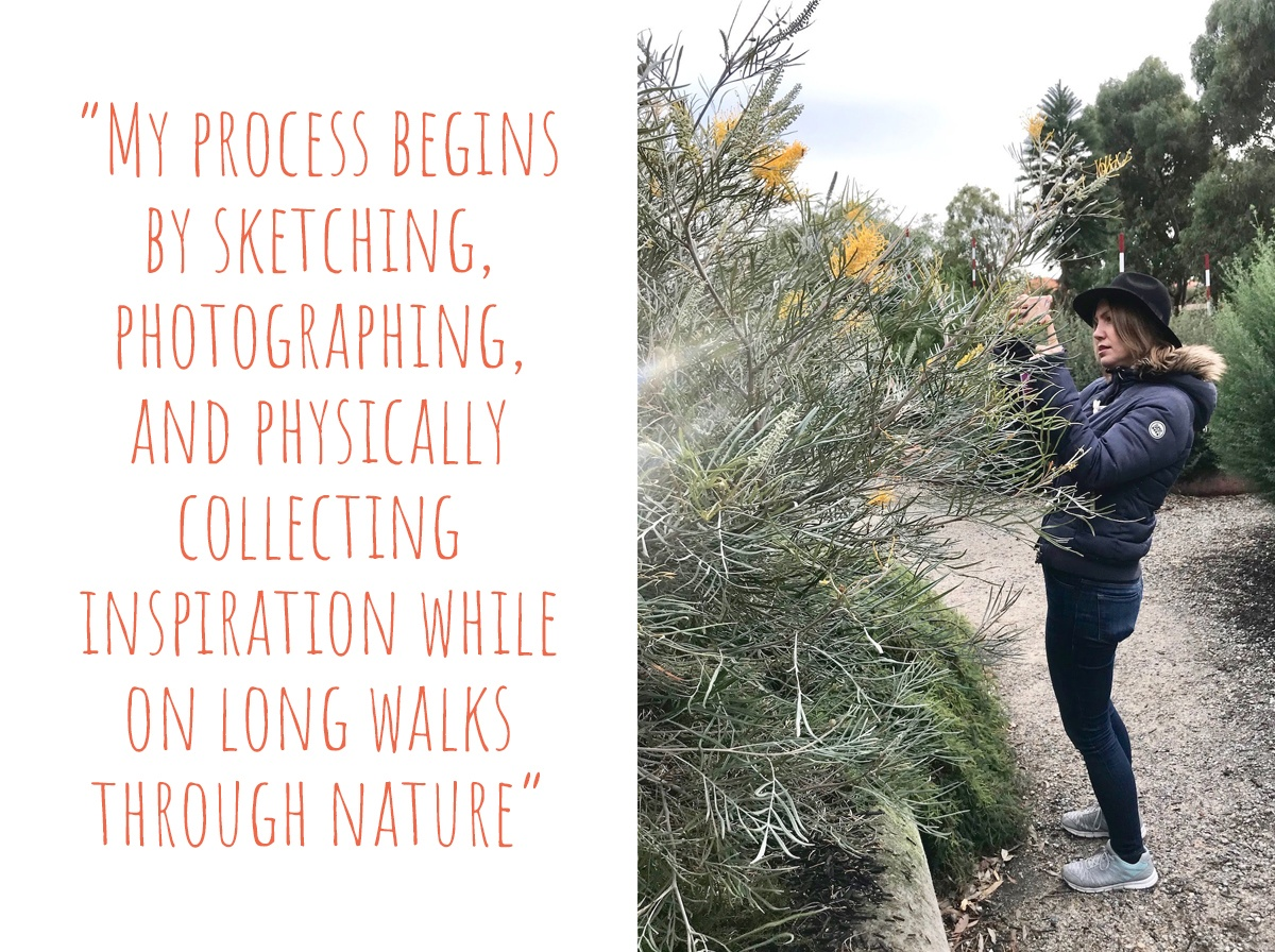 Jess inspecting a native grevillia plant on a nature walk: 'My process begins by sketching, photographing, and physically collecting inspiration while on long walks through nature'