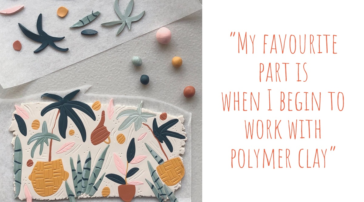 A polymer clay slab being constructed from custom blended colours of polymer clay; 'My favourite part is when I begin to work with polymer clay'