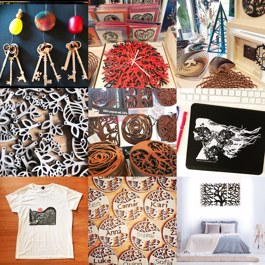 A collage of an array of Sue Codee's lasercut pieces from personalised Christmas ornaments, to a wall art trilogy, printed t-shirts, coasters, clocks, pendants and more.