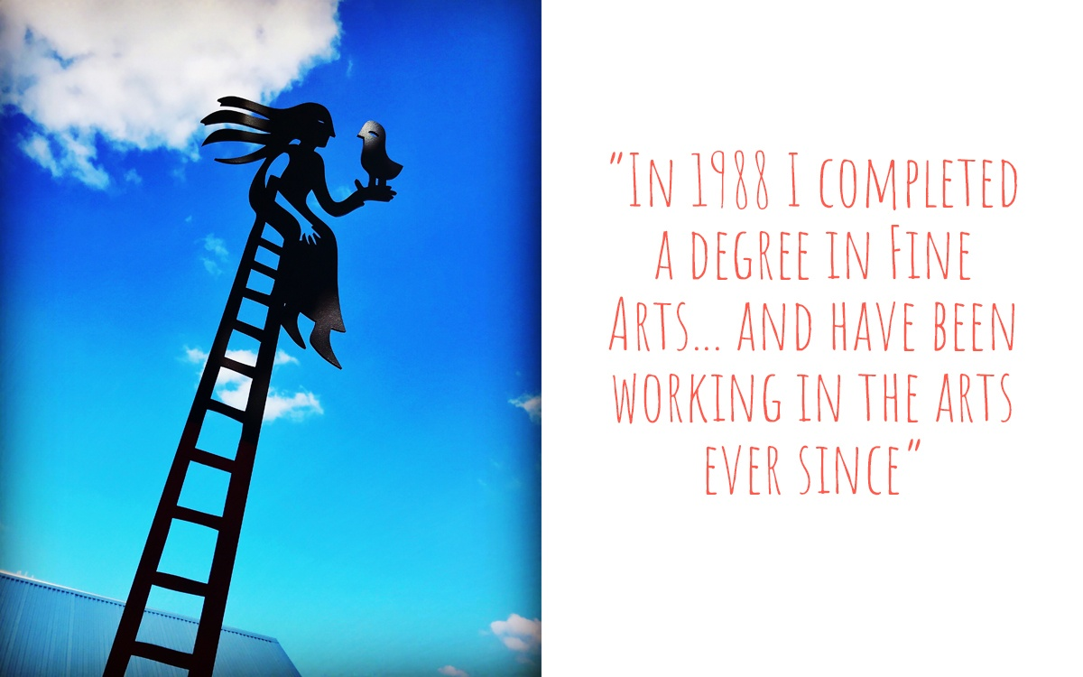 A woodcur of a girl sitting at the top of a ladder with a bird in her hand: 'In 1988 I completed a degree in fine arts… and have been working in the arts ever since.'
