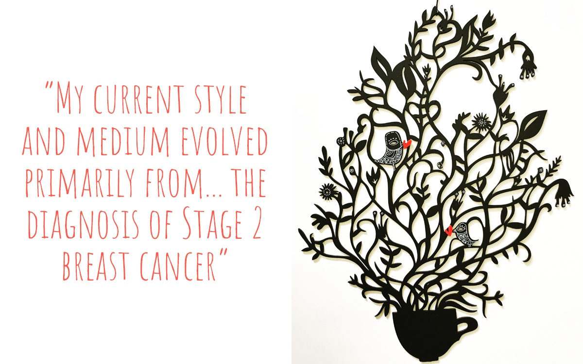 A woodcut of a coffee cup sprouting delicate vines with birds depicted with hearts coming from their beaks; 'My current style and medium evolved primarily from… the diagnosis of stage 2 breast cancer'
