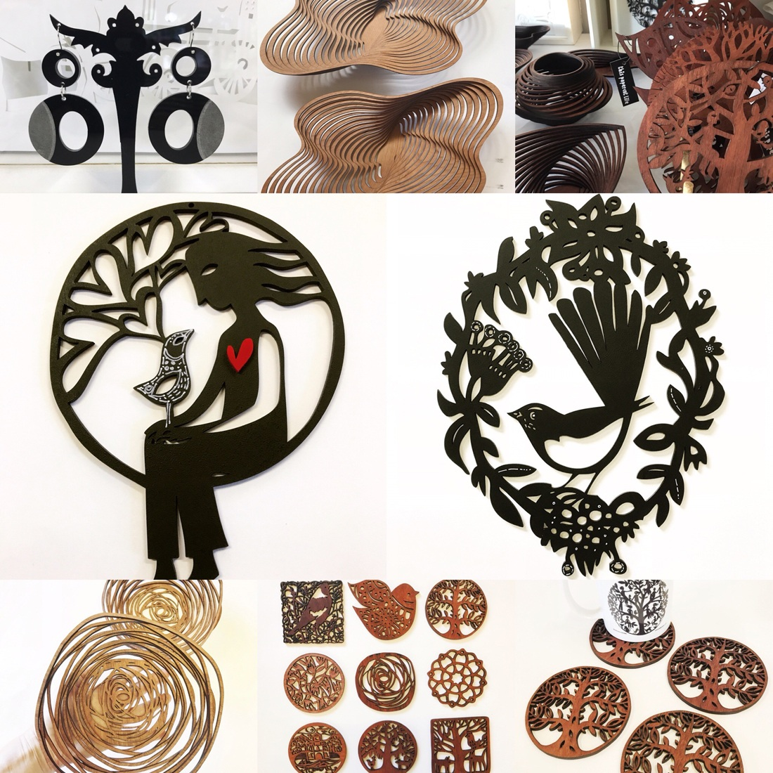 A collage of Sue Codee's timber lasercut artwork, jewellery and homewares