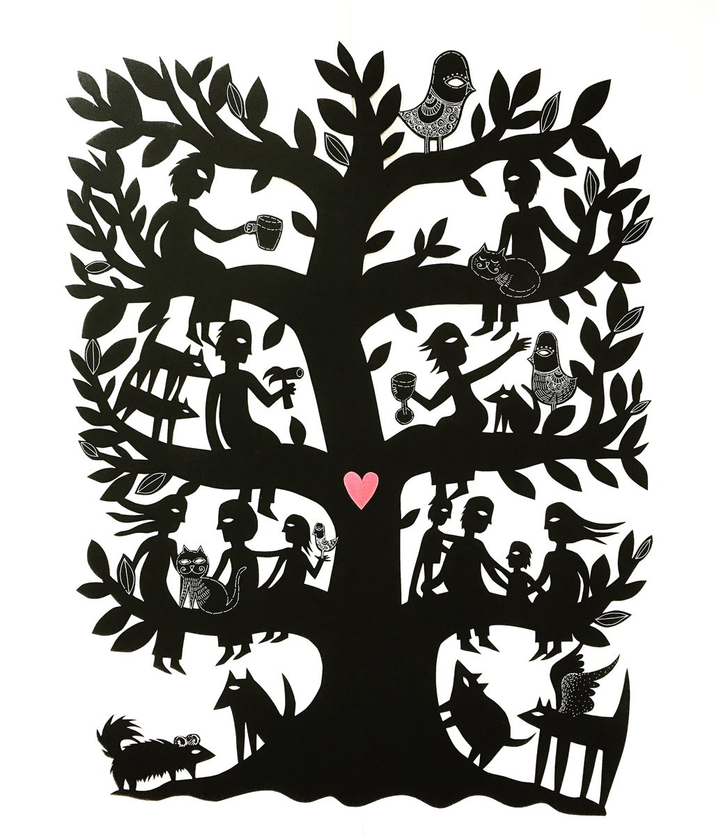 A custom order family tree woodcut by Sue Codee of This Papercut Life