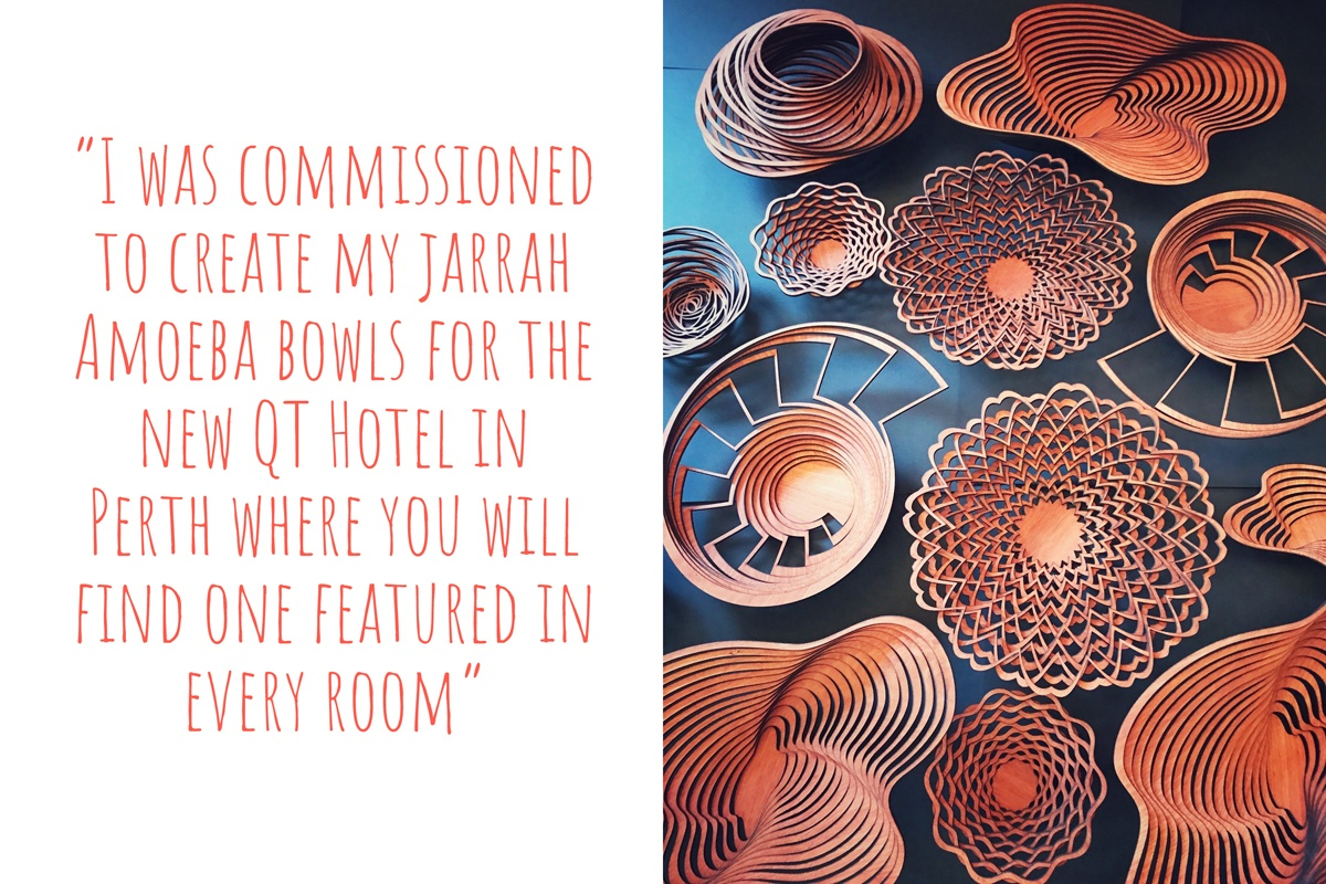 A collection of Sue's lasercut timber bowls: 'I was commissioned to create my Jarrah Amoeba bowls for the new QT Hotel in Perth, where you will find one featured in every room