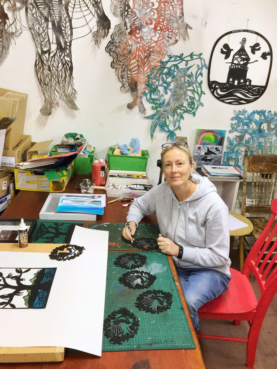 Visual artist, Sue Codee in her home studio in Albany on Western Australia's south coast