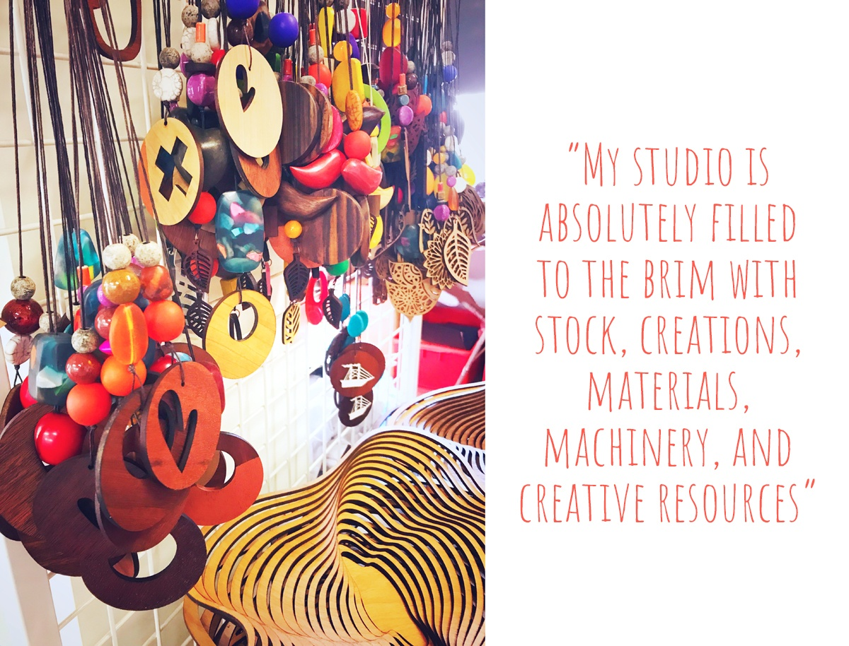 A collection of Sue's handmade jewellery and Jarrah Amoeba bowls: 'My studio is absolutely filled to the brim with stock, creations, materials, machinery, and creative resources'