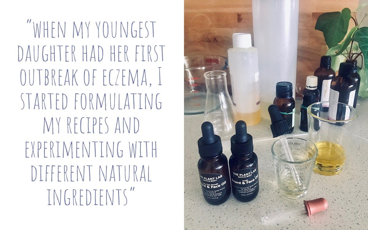 A selection of beakers, bottles and eyedroppers with different essential oils ready to mix; 'When my youngest daughter had her first outbreak of Eczma, I started formulating my recipes and experimenting with different natural ingredients'