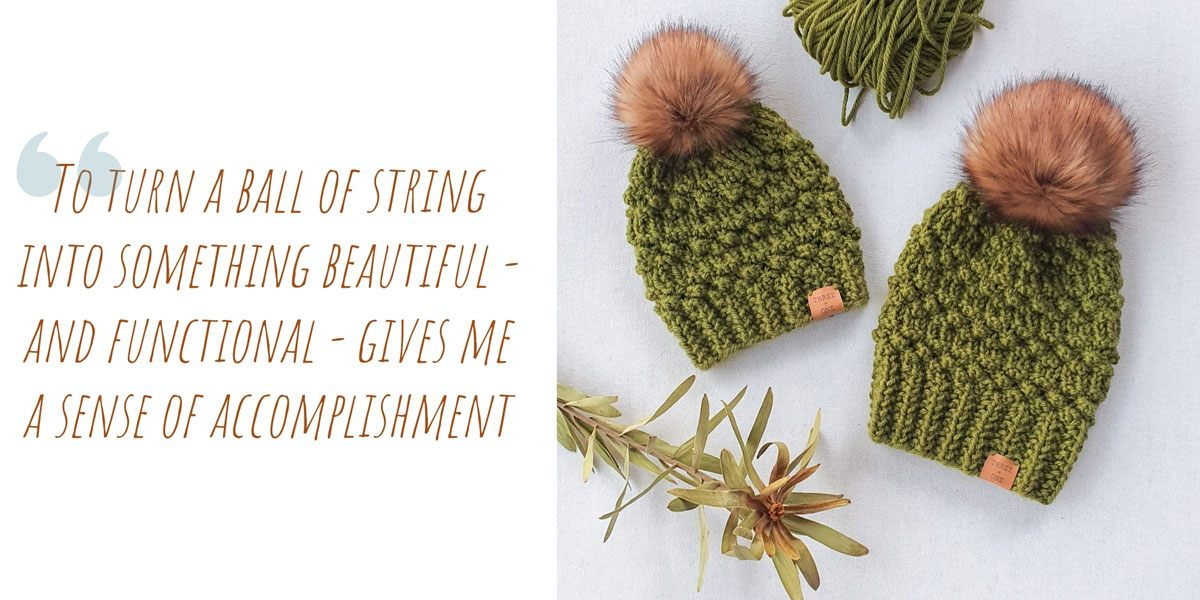 A ball of eucalyptus-green yarn with two textured beanies of the same colour; 'To turn a ball of string into something beautiful – and functional – gives me a sense of accomplishment'